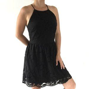 ✨ Monteau Black Sleeveless Lace Flare Dress ✨